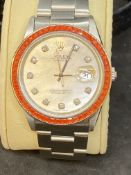 STAINLESS STEEL AUTOMATIC ROLEX WITH DIAMOND DOT DIAL & ORANGE BEZEL