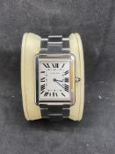 CARTIER TANK STAINLESS STEEL WATCH