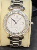 18ct WHITE GOLD CARTIER DIAMOND SET PASHA WATCH
