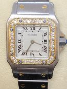 STEEL & GOLD CARTIER DIAMOND SET SANTOS WATCH