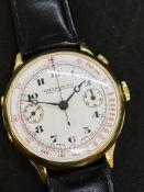 VINTAGE 1940'S EBERHARD & cO CHAUX-DE-FONDS ONE BUTTON CHRONO 18k GOLD