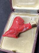 UNUSUAL 14ct GOLD LUCKY MONKEY (ANIMAL) CHINESE ? JAPANESE ? RED COLOURED STONE