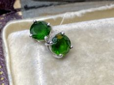 9ct WHITE GOLD GREEN STONE STUD EARRINGS