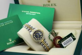 Rolex Lady Datejust 79163 - Gold & Stainless Steel with Grey Diamond Dial! Service Receipts etc.