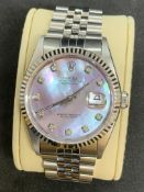 STAINLESS STEEL & 18ct WHITE GOLD ROLEX DIAMOND DIAL AUTOMATIC WATCH