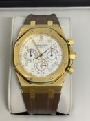 AUDEMARS PIGUET 39mm ROYAL OAK 18ct GOLD CHRONOGRAPH AUTOMATIC WATCH WITH BOX & PAPERS