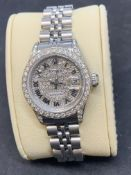 LADIES 26mm ROLEX DATEJUST SET WITH AFTERMARKET DIAMONDS ON THE FACE, BEZEL & LUGS
