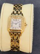 Cartier Panthere 1070 18k Gold Rare Deco Bracelet Quartz Ladies Watch 22MM