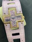 ROGER DUBUIS Follow Me Bezel Diamond F16850 18ct Yellow gold quartz 39mm pink