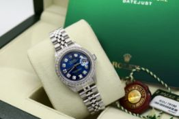 Rolex Ladies Datejust - Boxset and Authenticity Card - Stainless Steel with Navy Diamond Dial!