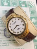 Rolex Cellini Quartz 37mm, White Roman Dial - Yellow Gold on Strap - 1993