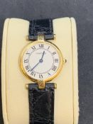 18ct GOLD CARTIER LADIES WATCH WITH 18ct GOLD BUCKLE - 24mm