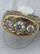 FINE HEAVY GENTS 3 STONE 2.55ct DIAMOND RING WITH COPY OF VALUATION - £22,200
