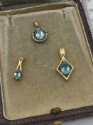 3 X 9ct GOLD BLUE STONE & DIAMOND PENDANTS