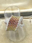 14ct WHITE GOLD YELLOW & ORANGE DIAMOND SET RING