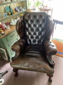 FINE LEATHER BUTTON BACK WINGED ARMCHAIR WITH BALL & CLAW FEET