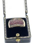 9ct Gold Black Diamond & Ruby Ring