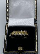 9ct Gold Yellow Stone & Diamond Ring