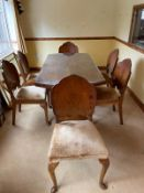 ART DECO STYLE WALNUT TABLE & CHAIRS