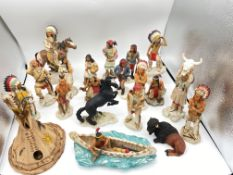 19 x INDIAN FIGURINES BY CASTAGNA ITALY INC HORSE, BUFFALO, WIG WAM TENT & OTHER RARE FIGURES