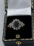 9ct Gold Black Stone & Diamond Ring