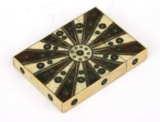 A late 19th century Anglo Indian ebony and ivory visiting card case, 8cms (3ins) wide.