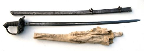 A rare 19th century Hallamshire Rifles Presentation Sword. The blade etched with the HALLAMSHIRE