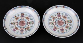 A pair of Chinese shallow dishes decorated with foliate scrolls, blue seal mark to the underside,