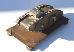 A trench art brass and aluminium WW1 German K-Wagen Tank with side and top machine guns, together