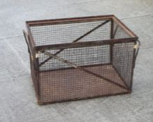 An industrial metal and mesh cage, 79cms (39ins) wide.Condition Reportrusty but no major damage