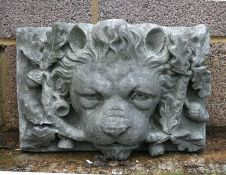 A concrete lion fountain head, 44cms (17.25ins) wide.Condition ReportSome minor scratches to his