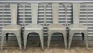 A set of four Tolix style aluminium bistro chairs (4).
