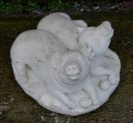 A concrete group of two piglets, 33cms (13ins) wide.