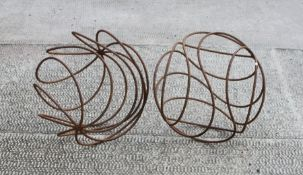 A pair of steel openwork garden spheres, 43cms (17ins) diameter.Condition ReportGood overall