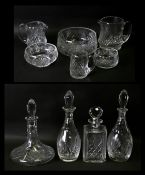 A pair of Edinburgh Crystal Iona pattern cut glass decanters, 32cms (12.5ins) high; together with