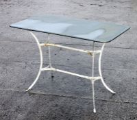 A painted white metal garden table with rectangular zinc top, 110cms (43ins) wide.Condition