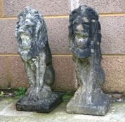 A pair of well weathered reconstituted stone rampant lions. 57cm (22.5 ins) highCondition