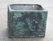 A rectangular galvanised water tank or planter, 67cms (26ins) wide.Condition Reportnumerous rusted