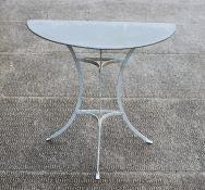 A painted metal garden table with zinc demi-lune top, 79cms (31ins) wide.Condition ReportGood