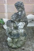 A well weathered reconstituted stone garden fountain, 75cms (29.5ins) high.Condition Reportwell