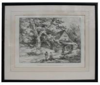 After George Moorland - Fisherman by a Mill Stream - engraving, framed & glazed, 36 by 47cms (14