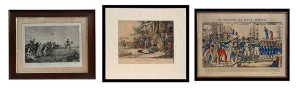 A 19th century aquatint - Battle of Krasnoe - unframed, 34 by 44cms (13.5 by 17.5ins); together with