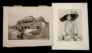E J Story (20th century British) - Blind Coolie - and - Chinese Gateway - etchings, signed in pencil