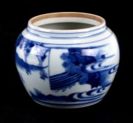 A Chinese blue & white pot decorated with figures in a landscape, 10cms (4ins) high.