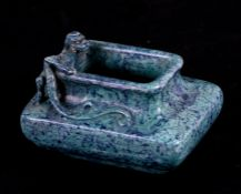 A Chinese turquoise glazed vase with applied chilong, impressed Qianlong mark to the underside, 7.