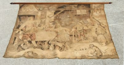 An 18th century style Dutch hanging wall tapestry depicting a tavern scene, 188cms (74ins) wide.