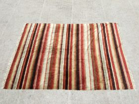 A large Laura Ashley chenille rug of multi coloured stripe design, 240 by 168cms (94.5 by 66ins).