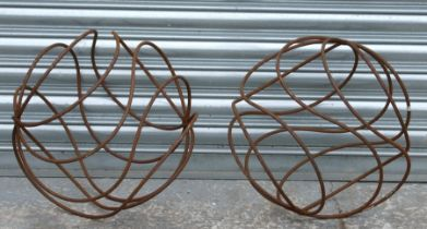 A pair of metal garden spheres, 42cms (16.25ins) diameter (2).