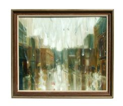 H Thomson (modern British) - A Rainy Day Street Scene - signed lower left, framed, 54 by 44cms (21