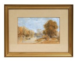 19th century Victorian school - River Landscape - watercolour & pencil, framed & glazed, 24 by 15cms